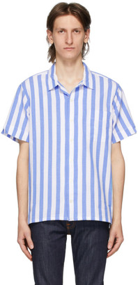 Polo Ralph Lauren Blue and White Striped Poplin Short Sleeve Shirt