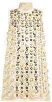 Miu Miu Pearl And Sequin-embellished Satin Mini Dress - Womens - Beige Multi