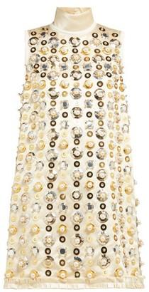 Miu Miu Pearl And Sequin-embellished Satin Mini Dress - Beige Multi