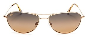 Maui Jim Unisex Baby Beach Polarized Brow Bar Aviator Sunglasses, 56mm