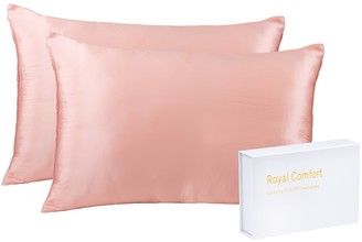 Royal Comfort Silk Pillow Cases & Goose Feather Pillow Pack Blush