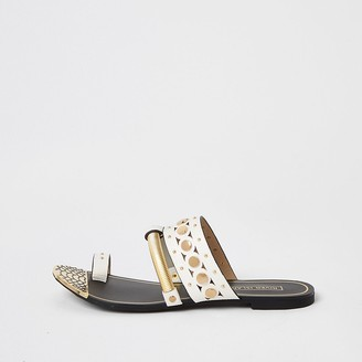 River Island White embellished toe loop sandals