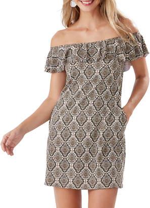 Tommy Bahama Desert Python Off-Shoulder Ruffle Spa Dress