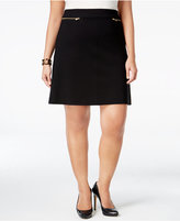 Alfani Plus Size Zip-Trim A-Line Skirt, Only at Macy's