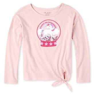 Children's Place The Girls 4-16 Novelty Unicorn Graphic Side Tie Long Sleeve T-Shirt