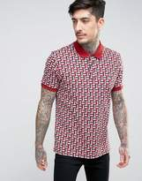 Pretty Green Jacquard Knit Polo in Dark Red