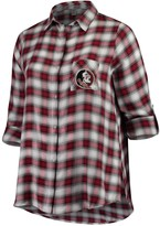 Unbranded Women's Plus Size Concepts Sport Garnet/Black Florida State Seminoles Forge Rayon Flannel Long Sleeve Button-Up Shirt