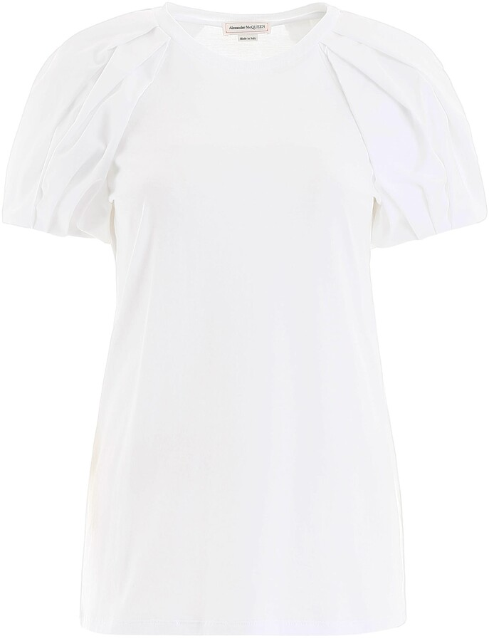 Thumbnail for your product : Alexander McQueen BALLOON SLEEVES T-SHIRT 42 White Cotton