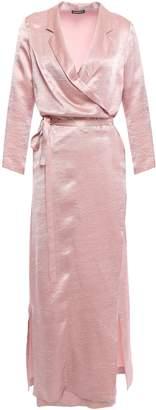 Ann Demeulemeester Crinkled-satin Midi Wrap Dress