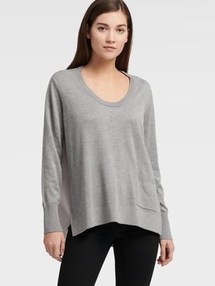 DKNY Women's Mixed-media Sweater With Pocket - Avenue Grey - Size XX-Small