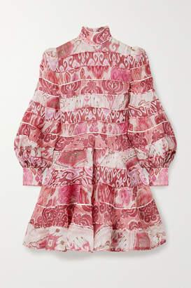 Zimmermann Wavelength Paneled Printed Linen And Silk-blend Mini Dress - Pink