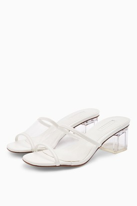 Topshop Womens Dusty White Transparent Mules - White