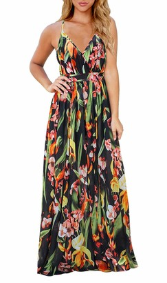 FEOYA Women Sun Dress Ladies Halter Neck Deep V Dresses Maxi Dress Summer Floral Print Dress Beach Dresses for Women Plus Size M Green
