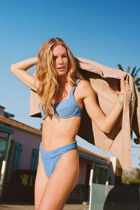 Nasty Gal Womens Crinkle Underwire Cut Out Bikini Top - Blue