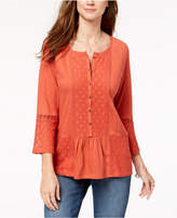 Style&Co. Style & Co Lace-Embellished Bell-Sleeve Tunic, Created for Macy's