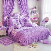 LELVA® LELVA Korean Rural Princess Bedding,Delicate Floral Print Lace Duvet Cover,Baby Girl Fancy Ruffle Wedding Bed Skirt 6pcs