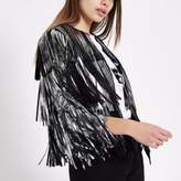 River Island Womens Silver faux suede fringe jacket