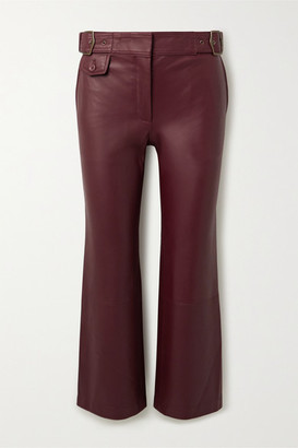 Sies Marjan Belted Cropped Leather Flared Pants - Burgundy