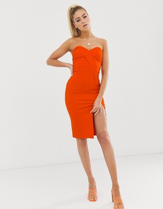 Vesper bandeau midi dress with thigh split in orange