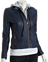 dark blue leather layered hooded zip jacket