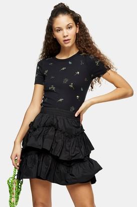 Topshop Womens Black Floral Print T-Shirt - Black