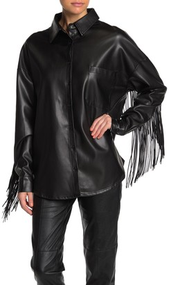 Tov Long Sleeve Faux Leather Fringe Jacket