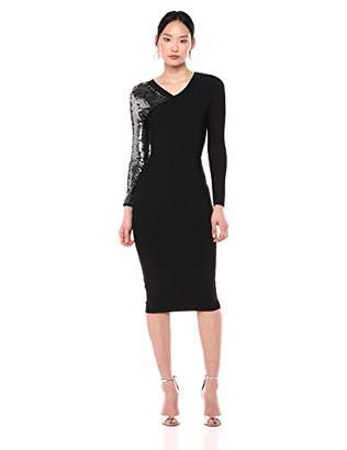 BCBGMAXAZRIA Azria Women's Sequined Sleeve Bodycon Dress