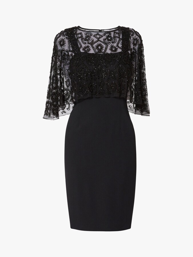 Thumbnail for your product : Gina Bacconi Laverna Beaded Cape Dress, Black