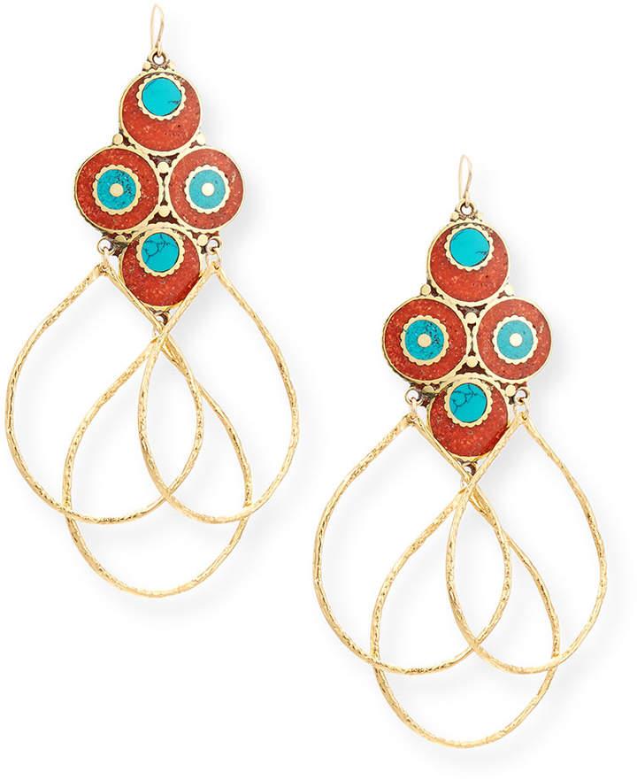 Devon Leigh Turquoise & Coral Triple Hoop Earrings