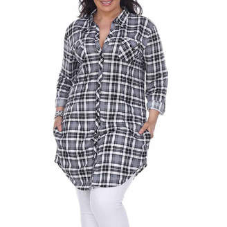 WHITE MARK White Mark-Plus Piper Plaid Womens Long Sleeve Tunic Top