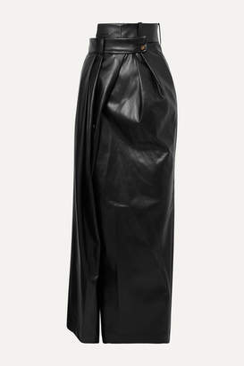 A.W.A.K.E. Mode Pirt Asymmetric Layered Faux Leather Maxi Skirt - Black