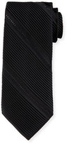 Stefano Ricci Pleated Silk Tie W/Crystal-Embellishment, Black