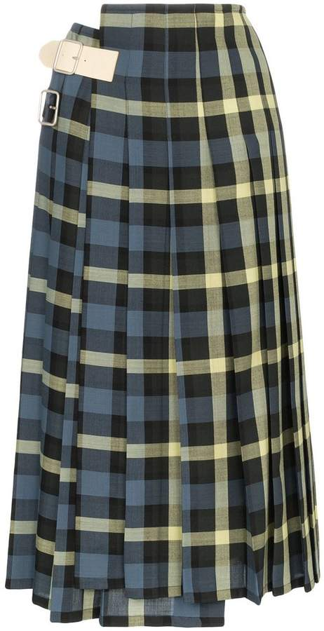 428aead6b6 Check Pleated Wool Skirt - ShopStyle