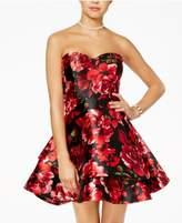 B. Darlin Juniors' Strapless Floral-Print Fit & Flare Dress