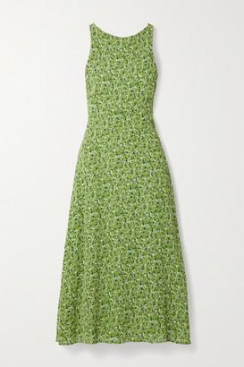 Reformation Harleen Open-back Floral-print Crepe De Chine Midi Dress - Green