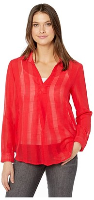 Liverpool Asymmetrical Placket Round Hem Popover (Red Ginger) Women's Blouse