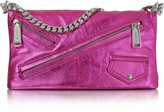 DSQUARED2 Babe Wire Fuchsia Laminated Nappa Leather Foldable Clutch