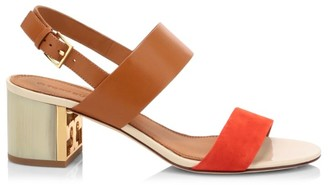 Tory Burch Gigi Leather & Suede Slingback Sandals
