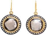 Nunu Gold Black Rhodium Smoky Topaz Drop Earring (Gold Black Rhodium Smoky) - Jewelry