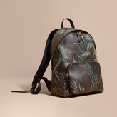 Burberry Leather Trim Floral Print London Check Backpack, Brown
