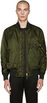 Burberry Green Nylon Bomber Jacket