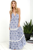 Love Stitch Relaxation Station Ivory and Blue Crochet Maxi Dress