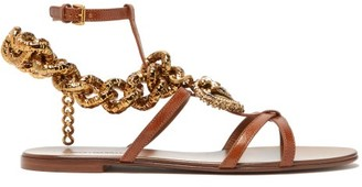 Dolce & Gabbana Devotion Heart And Chain Leather Sandals - Womens - Tan