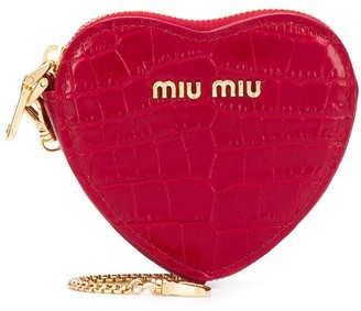 Miu Miu crocodile effect heart-shaped purse