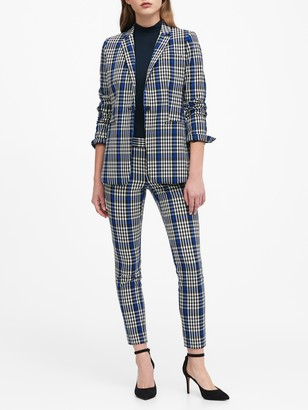 Banana Republic Petite Long & Lean-Fit Plaid Blazer