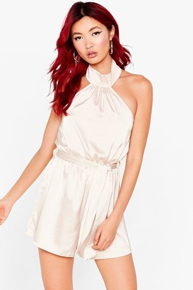 Nasty Gal Womens Sleeve With the Crown Satin Halter Romper - Champagne