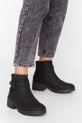 Nasty Gal Womens Buck is on Our Side Faux Leather Cleated Boots - Black