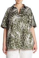 Lafayette 148 New York, Plus Size Damon Palm-Print Blouse