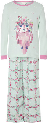 Monsoon Owl Jersey and Woven Pyjama Set in Organic Cotton Blue