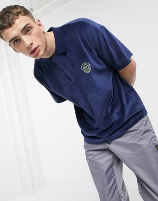 Entente towelling polo in navy with logo